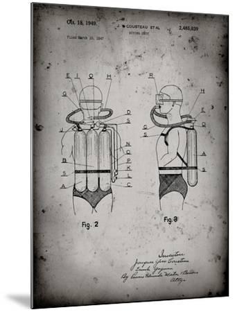 PP897-Faded Grey Jacques Cousteau Diving Suit Patent Poster-Cole Borders-Mounted Giclee Print