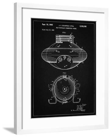 PP898-Vintage Black Jacques Cousteau Submersible Vessel Patent Poster-Cole Borders-Framed Giclee Print