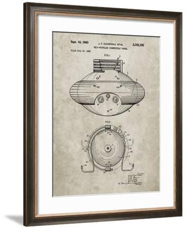 PP898-Sandstone Jacques Cousteau Submersible Vessel Patent Poster-Cole Borders-Framed Giclee Print