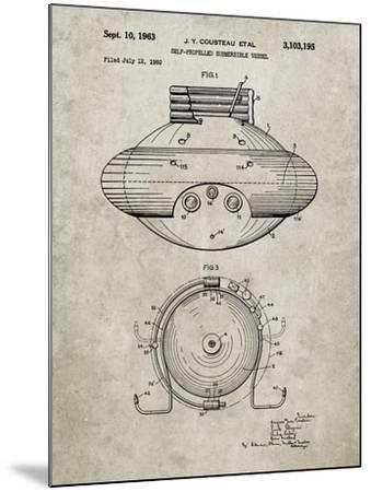 PP898-Sandstone Jacques Cousteau Submersible Vessel Patent Poster-Cole Borders-Mounted Giclee Print