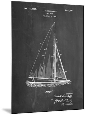 PP878-Chalkboard Herreshoff R 40' Gamecock Racing Sailboat Patent Poster-Cole Borders-Mounted Giclee Print