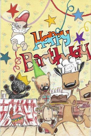 Happy Birthday 2-Miguel Balb?s-Stretched Canvas Print
