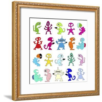 Aliens Pattern 1-Miguel Balb?s-Framed Giclee Print
