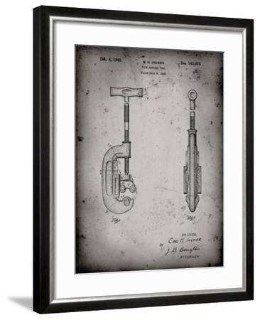 PP986-Faded Grey Pipe Cutting Tool Patent Poster-Cole Borders-Framed Giclee Print