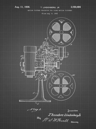 PP966-Black Grid Movie Projector 1933 Patent Poster-Cole Borders-Framed Giclee Print