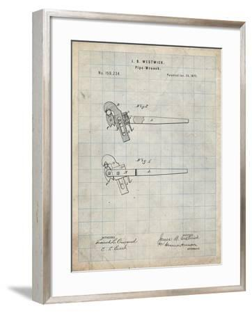 PP987-Antique Grid Parchment Pipe Wrench Patent Wall Art Poster-Cole Borders-Framed Giclee Print