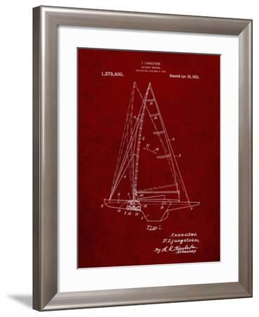 PP942-Burgundy Ljungstrom Sailboat Rigging Patent Poster-Cole Borders-Framed Giclee Print
