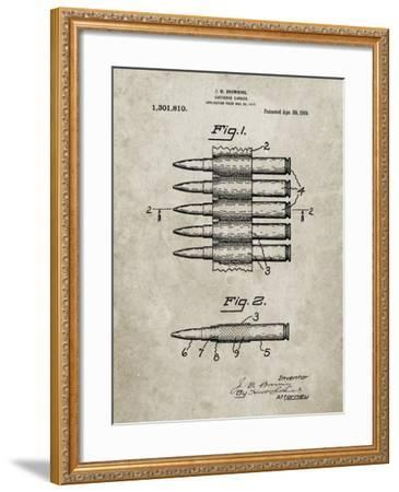 PP948-Sandstone Machine Gun Bullet Carrier Belt Patent Poster-Cole Borders-Framed Giclee Print
