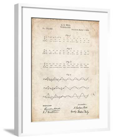 PP962-Vintage Parchment Morse Code Patent Poster-Cole Borders-Framed Giclee Print