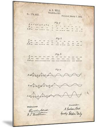 PP962-Vintage Parchment Morse Code Patent Poster-Cole Borders-Mounted Giclee Print