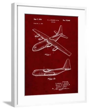 PP943-Burgundy Lockheed C-130 Hercules Airplane Patent Poster-Cole Borders-Framed Giclee Print