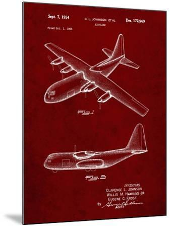 PP943-Burgundy Lockheed C-130 Hercules Airplane Patent Poster-Cole Borders-Mounted Giclee Print