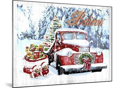 Red Truck Christmas-Old Red Truck-Mounted Giclee Print