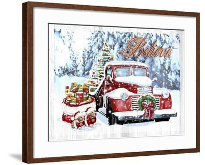 Red Truck Christmas-Old Red Truck-Framed Giclee Print