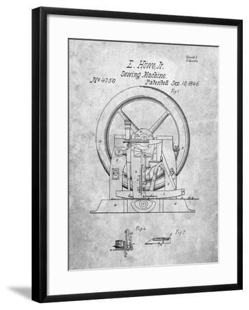 PP1035-Slate Singer Sewing Machine Patent Poster-Cole Borders-Framed Giclee Print