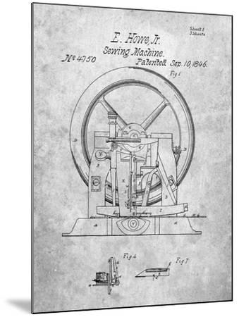 PP1035-Slate Singer Sewing Machine Patent Poster-Cole Borders-Mounted Giclee Print