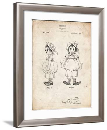PP1005-Vintage Parchment Rag Doll Poster-Cole Borders-Framed Giclee Print