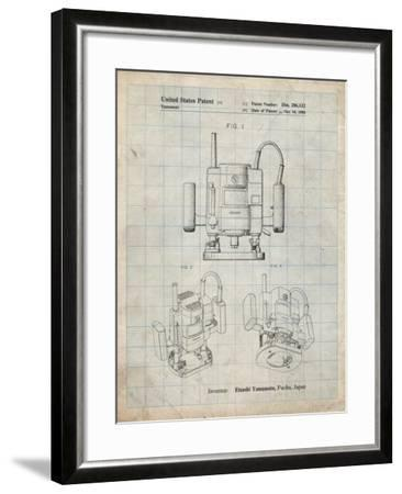 PP1025-Antique Grid Parchment Ryobi Portable Router Patent Poster-Cole Borders-Framed Giclee Print