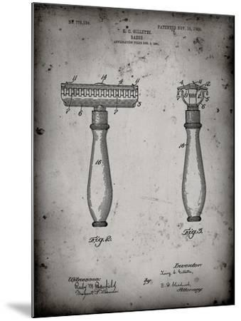 PP1026-Faded Grey Safety Razor Patent Poster-Cole Borders-Mounted Giclee Print
