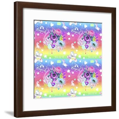 Unicorn Rainbow Ombre Pattern-Sheena Pike Art And Illustration-Framed Giclee Print