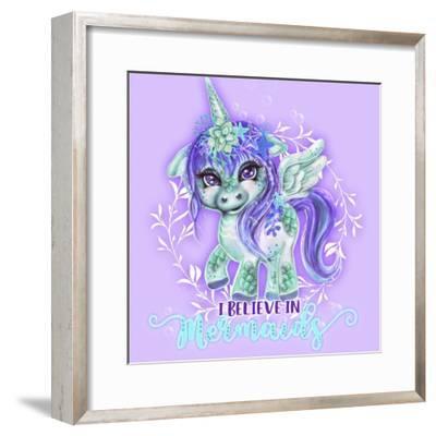 I Believe in Mermaids CutieCorn-Sheena Pike Art And Illustration-Framed Giclee Print