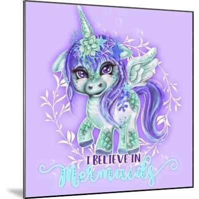 I Believe in Mermaids CutieCorn-Sheena Pike Art And Illustration-Mounted Giclee Print