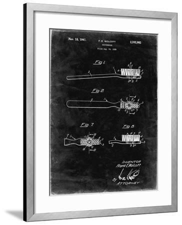 PP1103-Black Grunge Toothbrush Flexible Head Patent Poster-Cole Borders-Framed Giclee Print