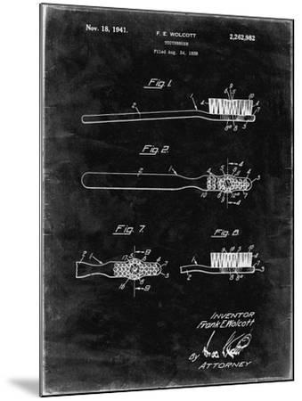 PP1103-Black Grunge Toothbrush Flexible Head Patent Poster-Cole Borders-Mounted Giclee Print