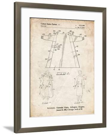 PP1074-Vintage Parchment Surgical Gown Patent Print-Cole Borders-Framed Giclee Print