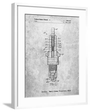 PP1051-Slate Spark Plug Patent Poster-Cole Borders-Framed Giclee Print