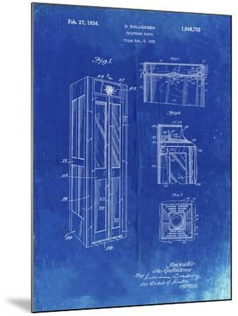 PP1088-Faded Blueprint Telephone Booth Patent Poster-Cole Borders-Mounted Giclee Print