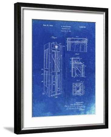 PP1088-Faded Blueprint Telephone Booth Patent Poster-Cole Borders-Framed Giclee Print