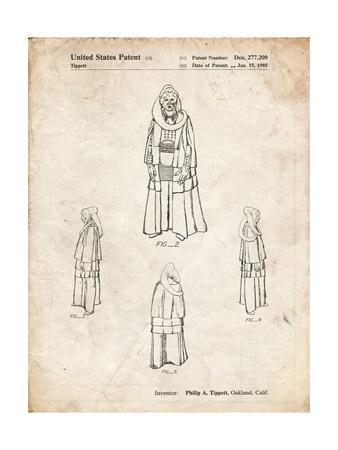 PP1054-Vintage Parchment Star Wars Bib Fortuna Patent Poster-Cole Borders-Framed Giclee Print