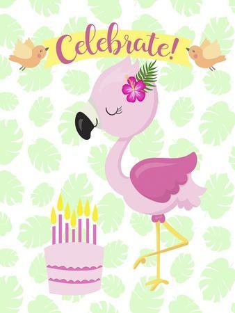 Flamingo Celebrate-Tina Lavoie-Framed Giclee Print