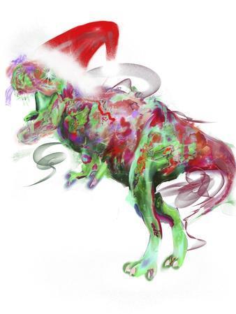 T Rex Christmas-Stephanie Analah-Framed Giclee Print