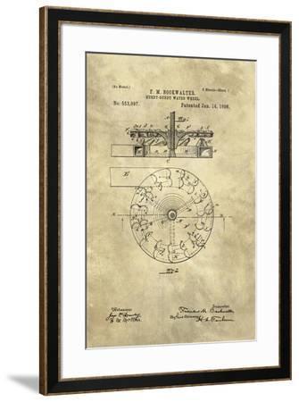 Hurdy-Gurdy Water Wheel blueprint - Industrial Farmhouse-Tina Lavoie-Framed Giclee Print