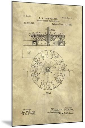Hurdy-Gurdy Water Wheel blueprint - Industrial Farmhouse-Tina Lavoie-Mounted Giclee Print