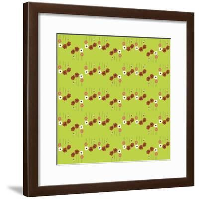 Pattern Coquelicot Lime-Anne Cote-Framed Giclee Print