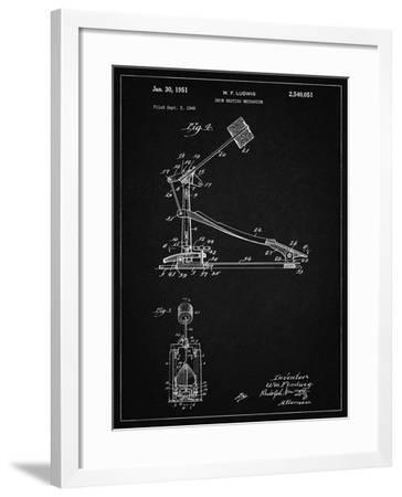 PP104-Vintage Black Drum Kick Pedal Poster-Cole Borders-Framed Giclee Print
