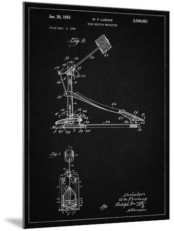 PP104-Vintage Black Drum Kick Pedal Poster-Cole Borders-Mounted Giclee Print