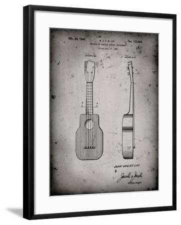 PP1117-Faded Grey Ukulele Patent Poster-Cole Borders-Framed Giclee Print