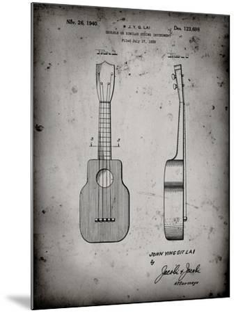 PP1117-Faded Grey Ukulele Patent Poster-Cole Borders-Mounted Giclee Print
