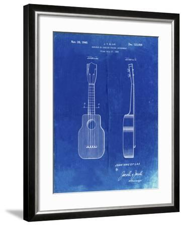 PP1117-Faded Blueprint Ukulele Patent Poster-Cole Borders-Framed Giclee Print