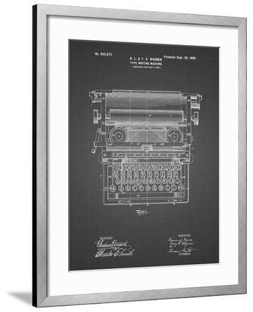 PP1118-Black Grid Underwood Typewriter Patent Poster-Cole Borders-Framed Giclee Print
