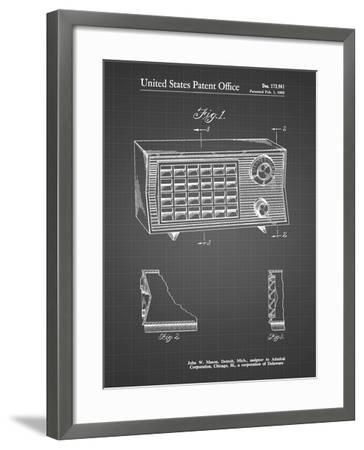 PP1126-Black Grid Vintage Table Radio Patent Poster-Cole Borders-Framed Giclee Print