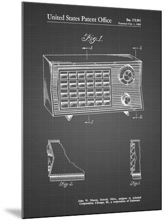 PP1126-Black Grid Vintage Table Radio Patent Poster-Cole Borders-Mounted Giclee Print