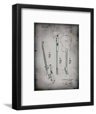 PP121- Faded Grey Fender Broadcaster Electric Guitar Patent Poster-Cole Borders-Framed Giclee Print