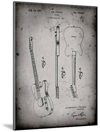 PP121- Faded Grey Fender Broadcaster Electric Guitar Patent Poster-Cole Borders-Mounted Giclee Print