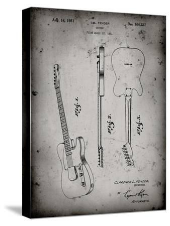 PP121- Faded Grey Fender Broadcaster Electric Guitar Patent Poster-Cole Borders-Stretched Canvas Print