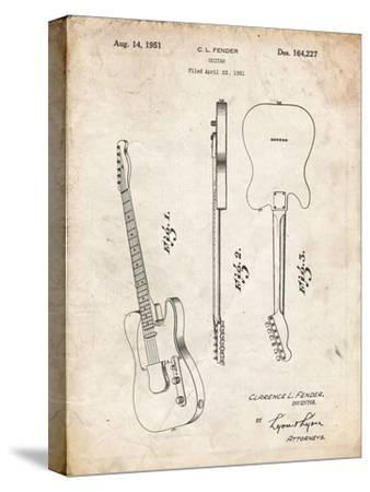 PP121- Vintage Parchment Fender Broadcaster Electric Guitar Patent Poster-Cole Borders-Stretched Canvas Print